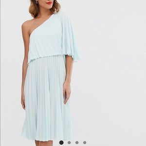 Asos One-Shoulder Pleated Midi Dress